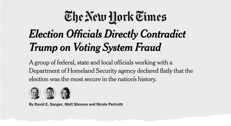 The New York Times: Election Officials Directly Contradict Trump on Voting System Fraud