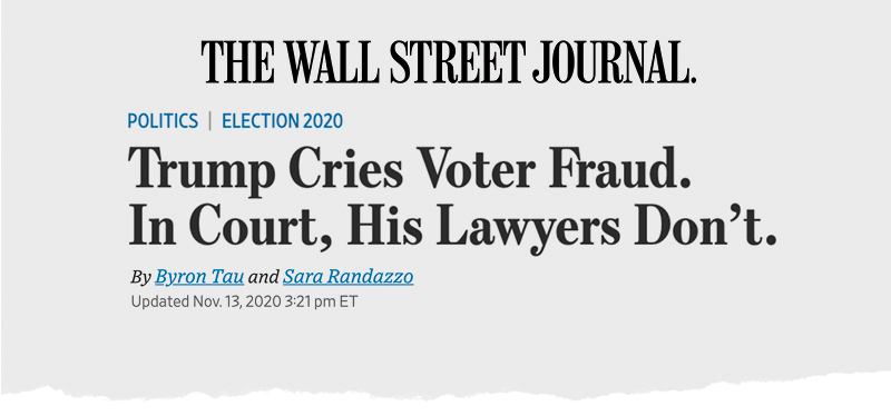The Wall Street Journal: Trump Cries Voter Fraud. In Court, His Lawyers Don't.