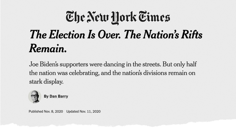 The New York Times: The Election Is Over. The Nation's Rifts Remain.