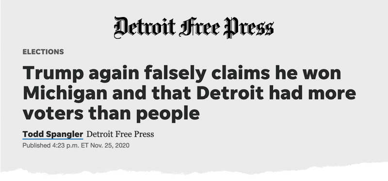 Detroit Free Press: Trump again falsely claims he won Michigan and that Detroit had more voters than people
