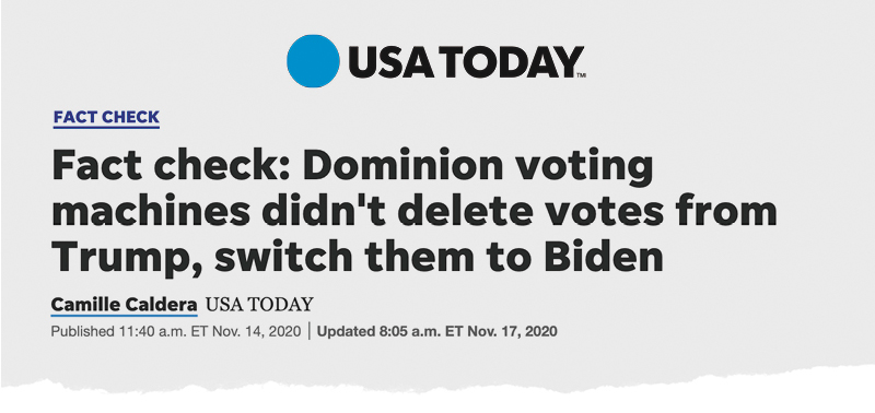 USA Today: Fact check: Dominion voting machines didn't delete votes from Trump, switch them to Biden