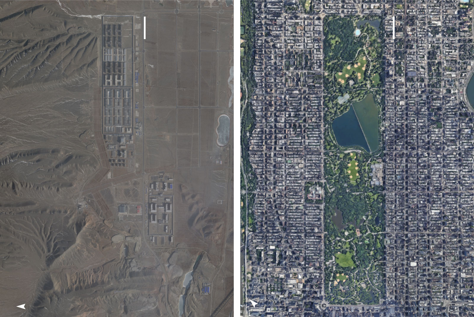 Satellite imagery comparing the size of Dabancheng to Central Park